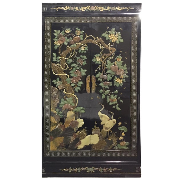 Vintage Chinoiserie Black Lacquer Mother of Pearl Inlay Wardrobe Armoire - Pair Available For Sale In San Francisco - Image 6 of 11