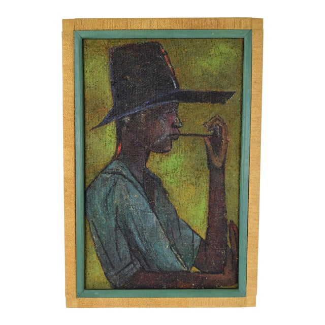 Vintage Mid-Century Man in Floppy Hat De Buren Haitian Oil Painting For Sale