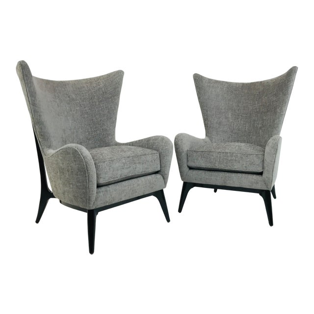 "Caracole ""What's New Pussycat"" Mid-Century Modern Wingback Chairs - a Pair For Sale"