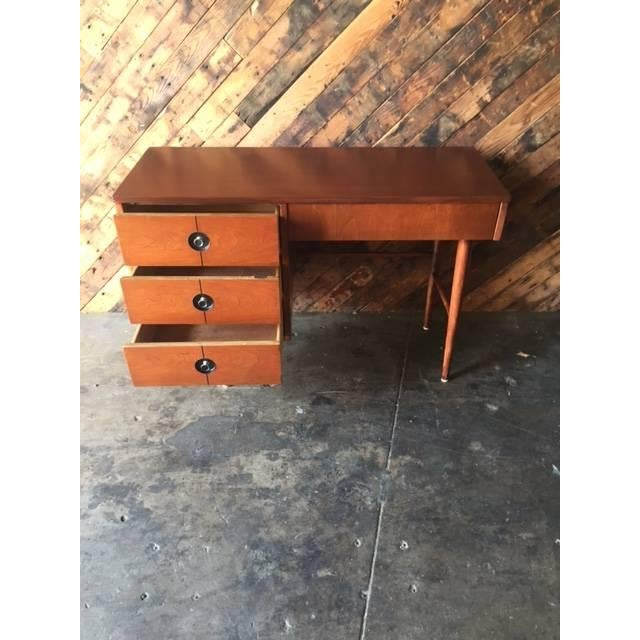Mid Century Walnut Refinished Desk by Stanley - Image 5 of 7