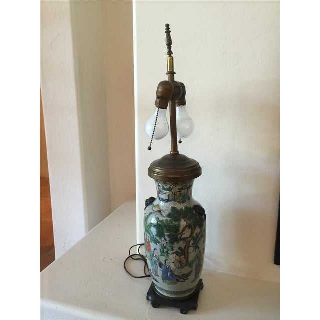 Asian Vintage Asian Table Lamp With Wooden Base For Sale - Image 3 of 11