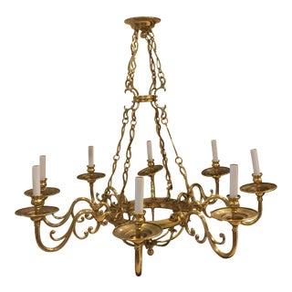 20th Century Brass 8-Light Chandelier For Sale