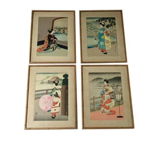 Vintage Mid-Century Geisha Print Collection - Set of 4 For Sale
