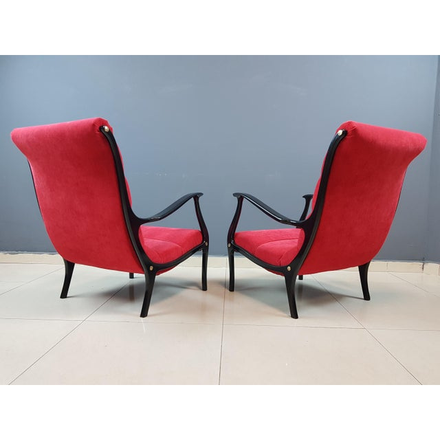 Italian Mid-Century Modern Lounge Armchairs by Ezio Longhi, 1950s Reupholstered - a Pair For Sale - Image 11 of 13