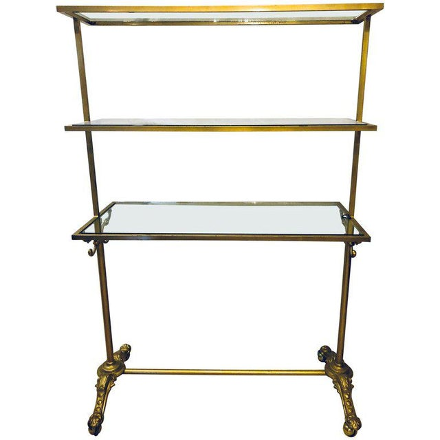 Hollywood Regency Three-Tier Large Bakers Rack Gilt Metal and Glass Shelves For Sale