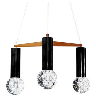 Three Light Seguso Solid Glass Spheres Chandelier For Sale