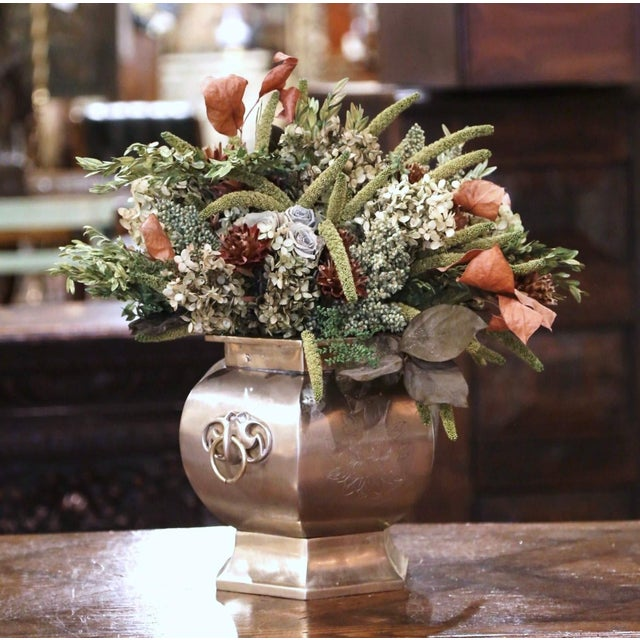 19th Century French Bronze and Silvered Engraved Planter With Floral Arrangement For Sale - Image 13 of 13