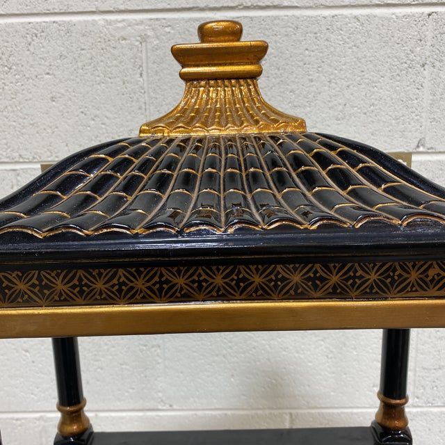 Metal Black Gold Lacquer Pagoda Wall Shelf For Sale - Image 7 of 13