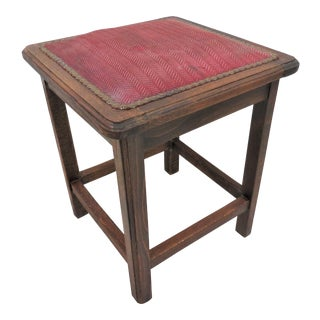 Antique French Oak Upholstered Square Stool For Sale