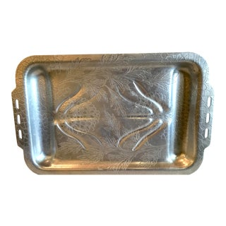 Vintage Mid-Century Modern Aluminum Embossed Meat Tray For Sale