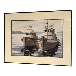 """""""Tugboats"""" Contemporary Nautical Watercolor Painting, Framed For Sale"""