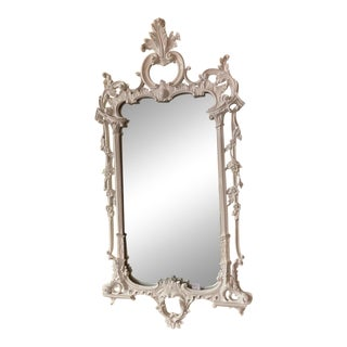 Chinese Chippendale White Carved Mirror For Sale