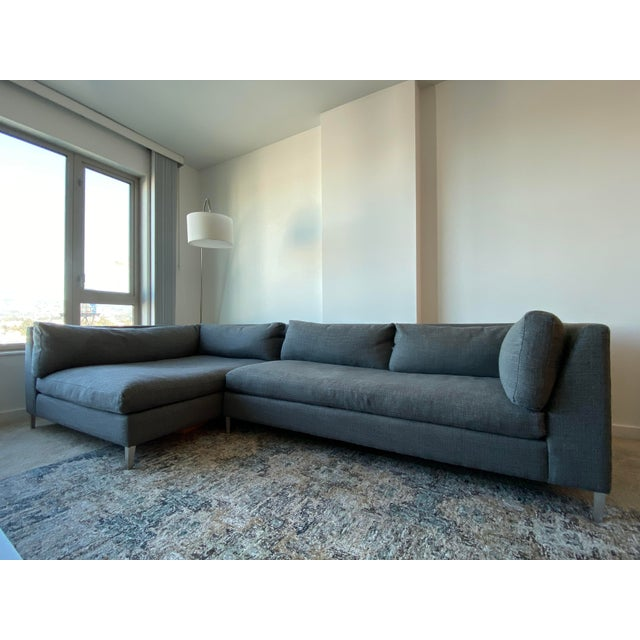 Cb2 Decker 2-Piece Asphalt Sectional Sofa Set For Sale In San Francisco - Image 6 of 6