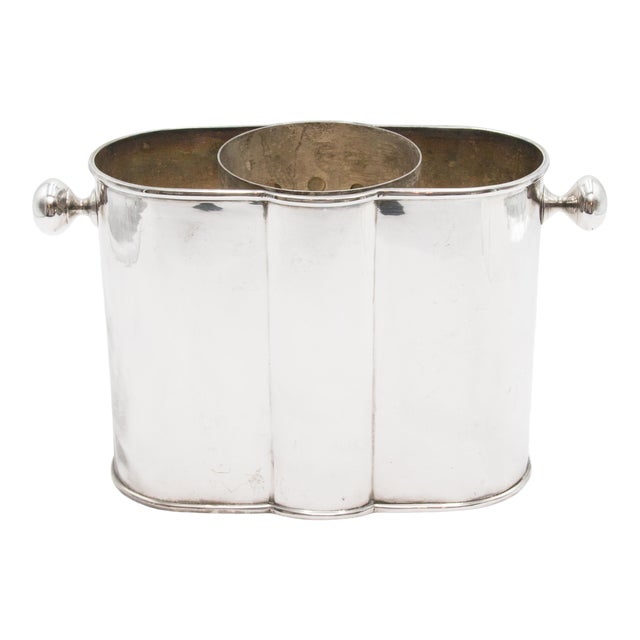 French Art Deco Silver Plate Champagne Bucket Wine Cooler For Sale