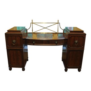 19th Century Traditional Double Pedestal Sideboard With Lion Mask Handles For Sale