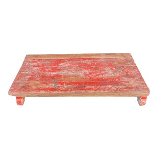 Scarlet Painted Teak Bajot Table For Sale