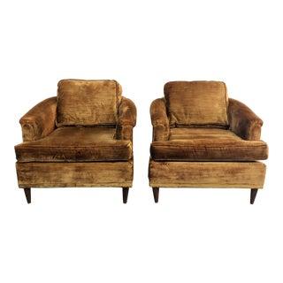 1960s Mid-Century Modern Kroehler Shag Velvet Club Chairs - a Pair For Sale