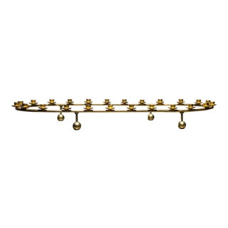 Large Brass Oval Candelabra for 24 Candles, Denmark, 1950s For Sale