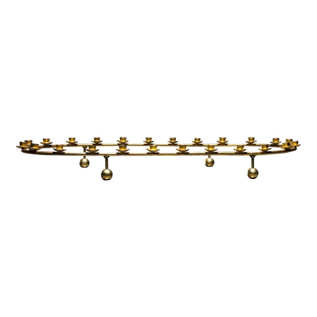 Large Brass Oval Candelabra for 24 Candles, Denmark, 1950s - Image 1 of 2