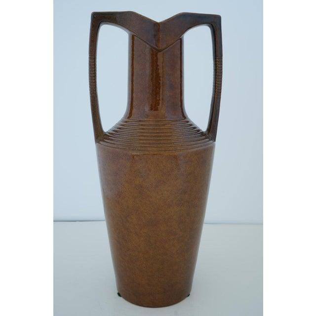 Vintage Art Deco 1920s Egyptian Revival Handled Jug Urn Vase Glazed Ceramic from a Palm Beach estate