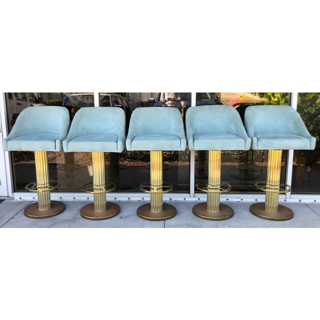 Design For Leisure Brass Bar Stools - Set of 5 For Sale - Image 9 of 9