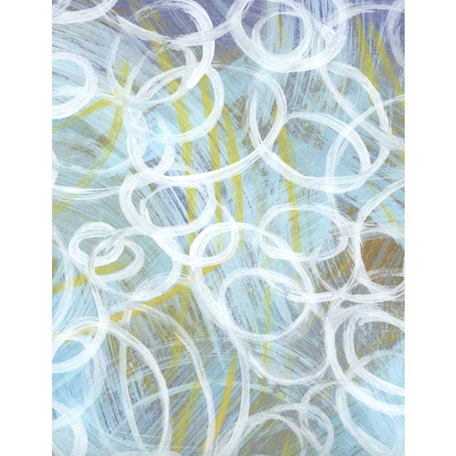 Abstract acrylic painting on 19.5 x 25.5 heavy paper. Composed of numerous brushstrokes - active mark making in soft...