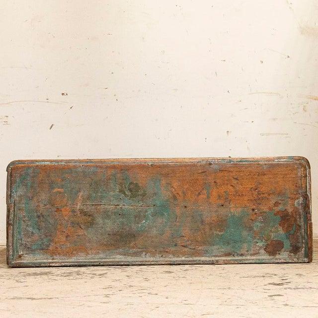 Antique Original Teal Green Folk Art Painted Sideboard For Sale - Image 9 of 11