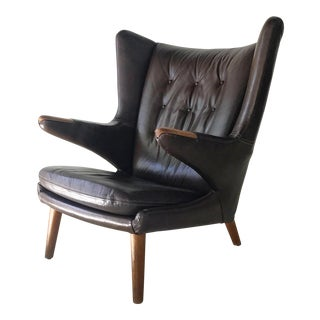 "Authentic Vintage Hans Wegner for Ap Stollen ""Papa Bear"" Leather Lounge Chair"