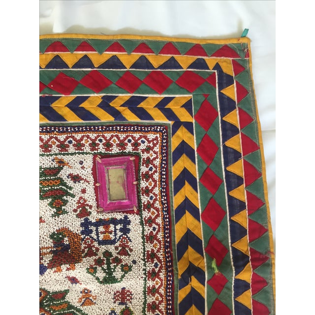 Vintage Beaded Indian Peacock Tribal Wall Hanging For Sale In Los Angeles - Image 6 of 7