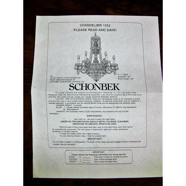 Silver Vintage Schonbek Crystal 6 Arm Chandelier For Sale - Image 8 of 9