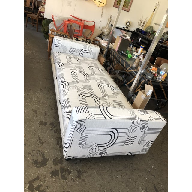 I offer this beautiful daybed just upholstered in this woven Art Deco inspired geometric fabric. It is a beautifully...