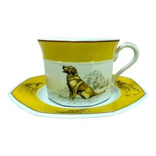 Hermes Porcelain Labrador Cup and Saucer For Sale