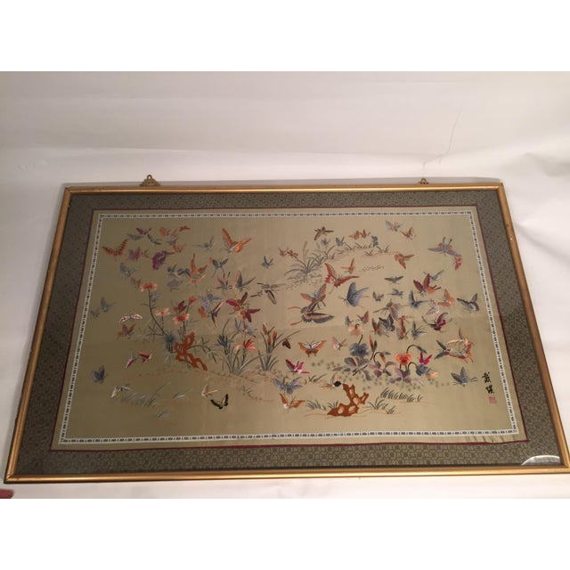 Antique Chinese Butterfly Garden Framed Embroidery - Image 2 of 11
