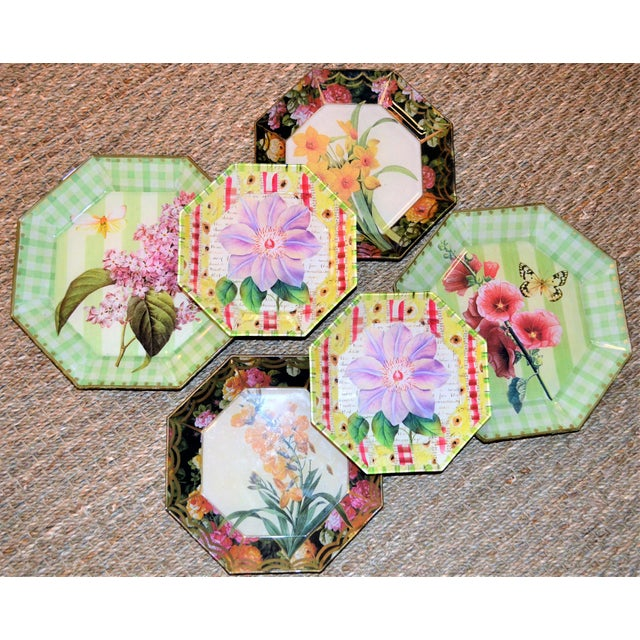 Botanical & Butterfly Decoupage Plates - Set of 6 For Sale - Image 4 of 10