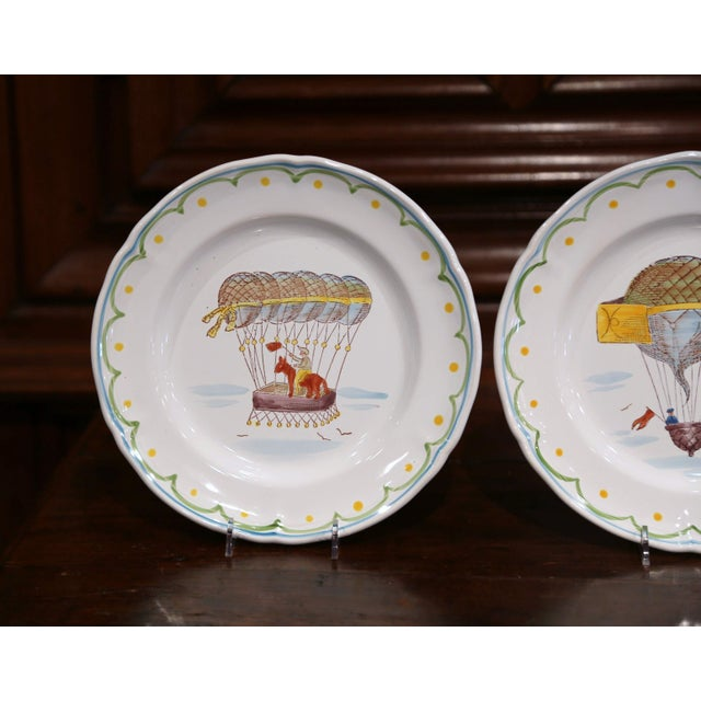 Set of Six French Hand-Painted Ceramic Hot Air Balloon Plates From Brittany For Sale - Image 9 of 13