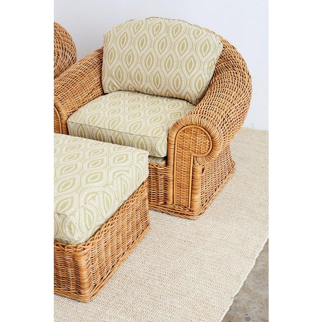 Wicker Michael Taylor Style Wicker Lounge Chairs and Ottomans For Sale - Image 7 of 13