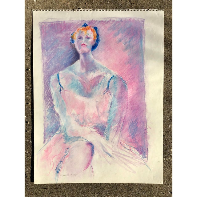 Vintage Pink and Purple Pastel Sketch of a Woman For Sale - Image 4 of 4