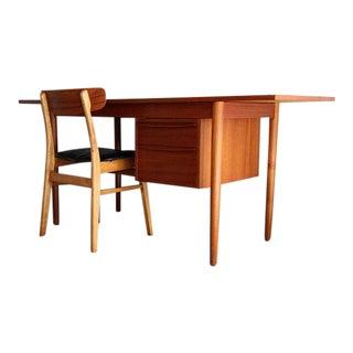 Mid Century Modern Danish Teak Expandable Drop Leaf Desk With Desk Chair