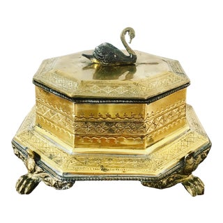Vintage Brass Box With Swan Finial For Sale