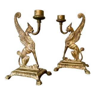 Early 20th Century English Griffin Candle Holders - a Pair For Sale