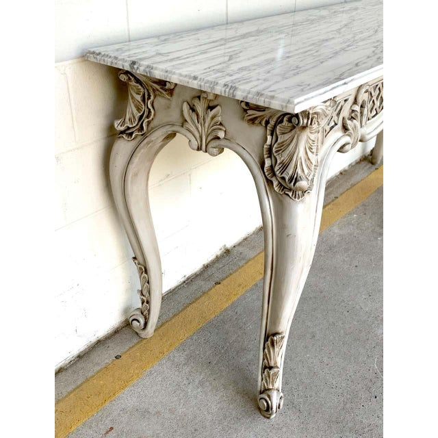 French Neoclassical Grey Painted Marble-Top Console Table For Sale - Image 4 of 10