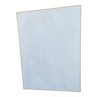 Abstract Highly Textured White on White Painting by Ron Goins For Sale