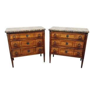 Hotel Continental Marble Top Commodes - a Pair For Sale