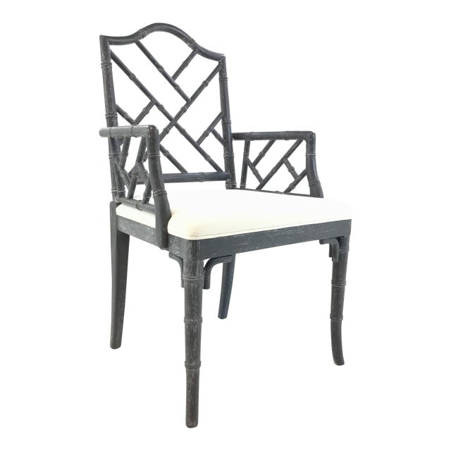 Worlds Away Modern Chippendale Style Gray Arm Chair For Sale