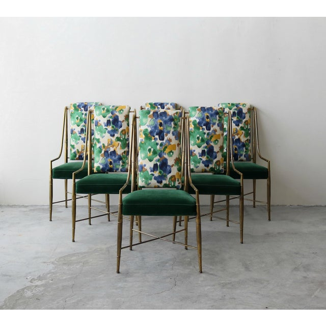 """Blue Set of 6 Solid Brass Faux Bamboo """"Imperial"""" Dining Chairs by Mastercraft For Sale - Image 8 of 8"""