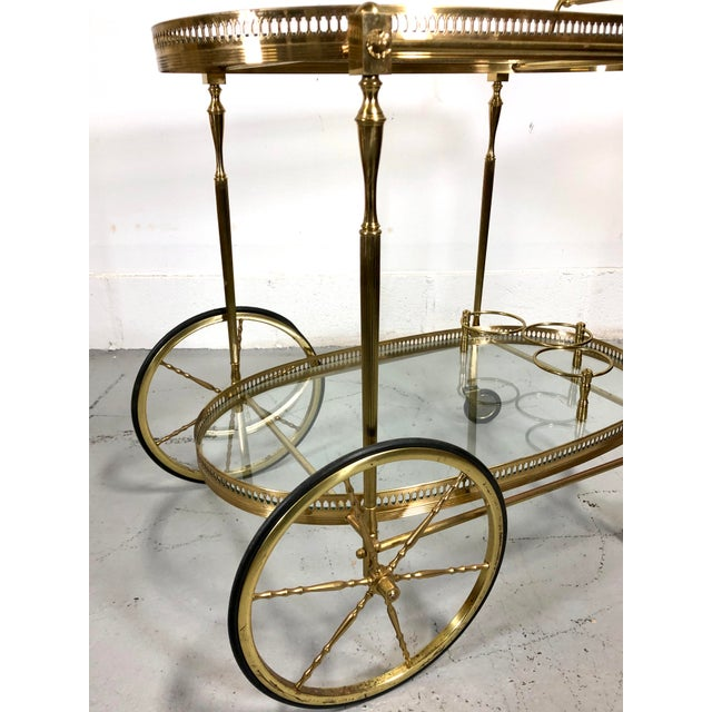 Brass Vintage Maison Jansen Style Brass Bar Cart / Trolley For Sale - Image 8 of 13