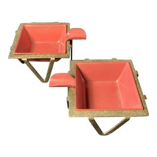 Mid-Century Enamel & Brass Ashtrays - a Pair For Sale