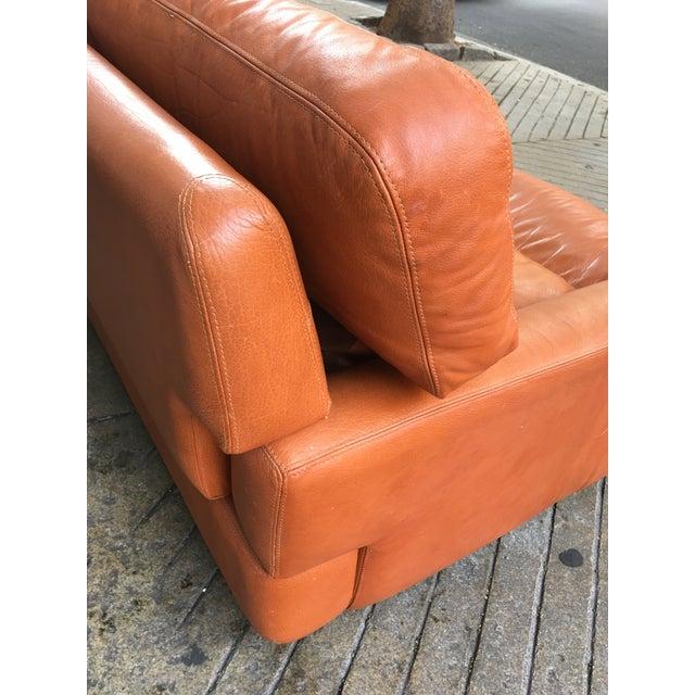 Saporiti Italia Saporiti Burnt Orange Leather Sofa For Sale - Image 4 of 12