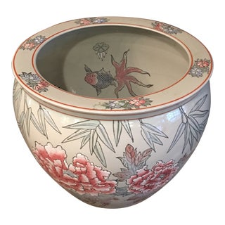 Chinese Porcelain Fishbowl Planter For Sale