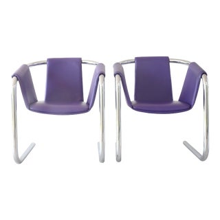 "1970's Purple Leather and Chrome ""Zermatt"" Sling Chairs by Vecta Group Italy - a Pair For Sale"
